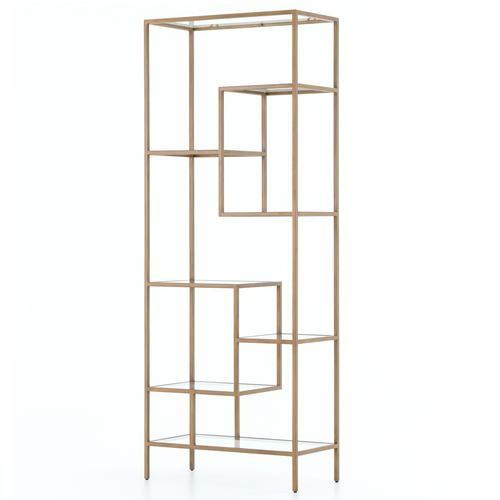 Helena Staggered Antique Brass + Glass Shelf Bookcase 83\