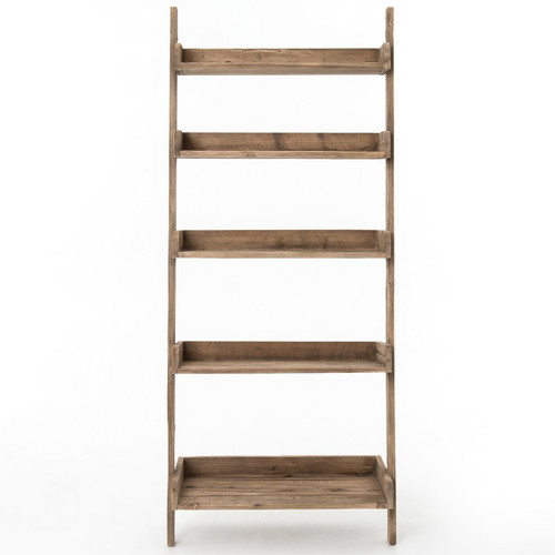 Lydia Rustic Lodge Brown Pine Leaning Bookcase French