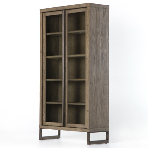 Harding Modern Glass Door Display Cabinet - Grey ...  sc 1 st  Zin Home & Harding Modern Glass Door Display Cabinet - Grey | Zin Home