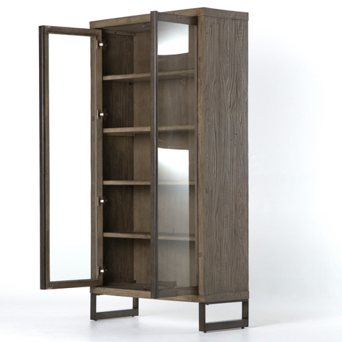Harding Modern Glass Door Display Cabinet Grey Zin Home
