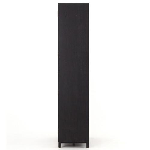 Millie Modern Drifted Black Oak Wood Glass Door Display Cabinet