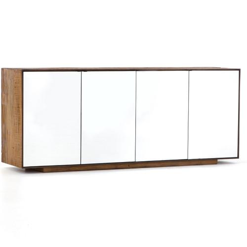 Betty Rustic Wood 4 Door Mirrored Sideboard Cabinet
