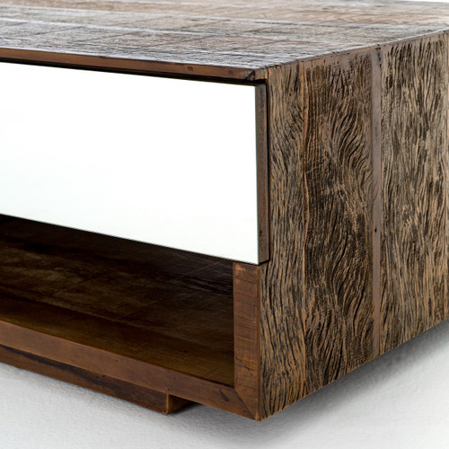 Rustic Wood And Mirror Coffee Table: Betty Rustic Peroba Wood Coffee Table With Mirrored