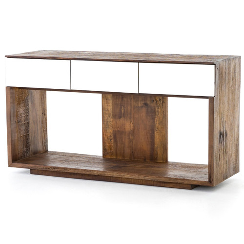Betty Rustic Wood Console Table with Mirrored Drawers