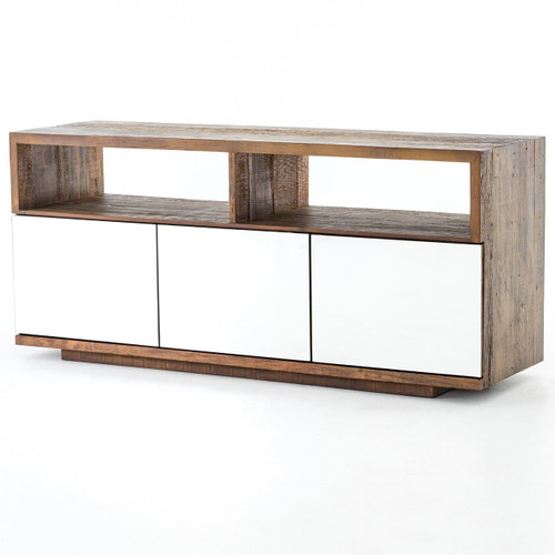 Betty Rustic Wood Media Console with 3 Mirrored Doors
