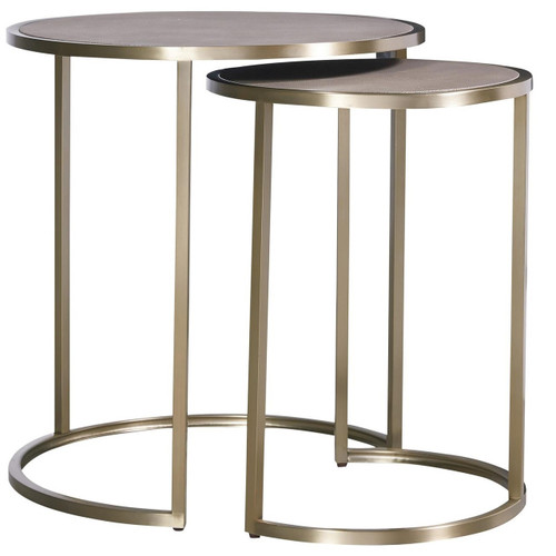 Portobello Modern Shagreen Brass Round Nesting Tables ...