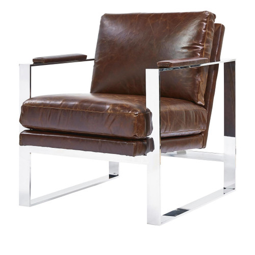 Elan Mid Century Modern Brown Leather Arm Chair