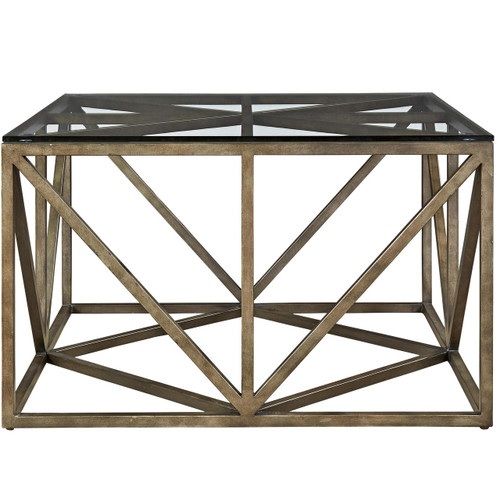 French Industrial Bronze Metal & Glass Top Square Coffee