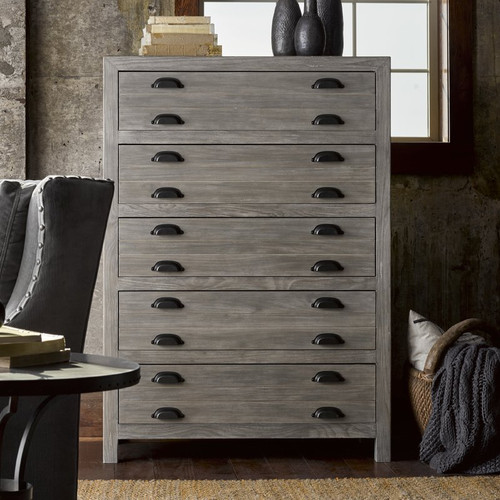 French Printer S Rustic Gray Wood Narrow 5 Drawers Chest