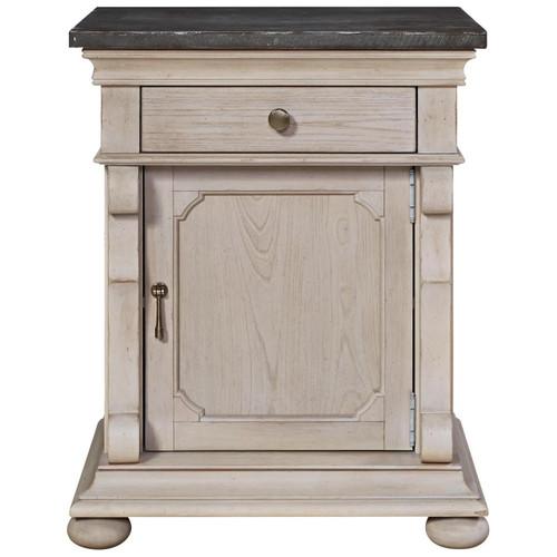 Belgian Cottage Carved Bluestone Top Bed Side Table