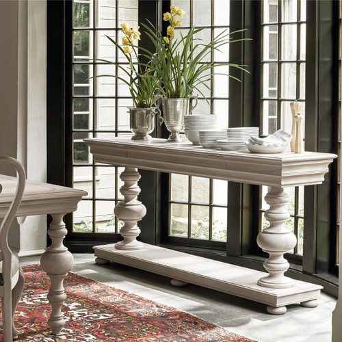 ... Belgian Cottage Balustrade Console Tables   Antiqued White ...