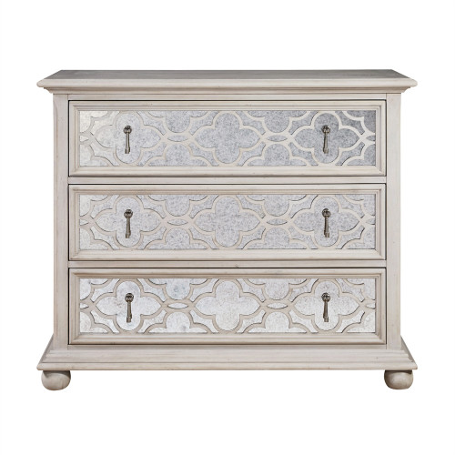 Belgian Cottage 3 Drawers Mirrored Chest Antiqued White