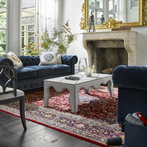 ... Belgian 3 Cushion Navy Velvet Tufted Chesterfield Sofas ...