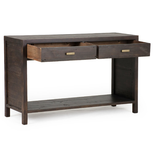 ... Caminito Dark Reclaimed Wood 2 Drawers Console Table With Open Shelf ...