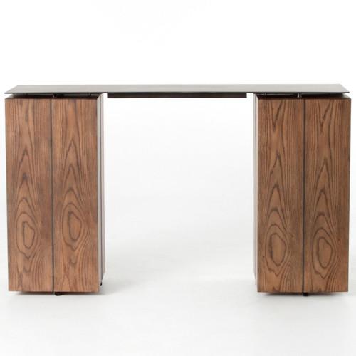 Oak Wood Block : Colton oak wood block base storage console table zin home