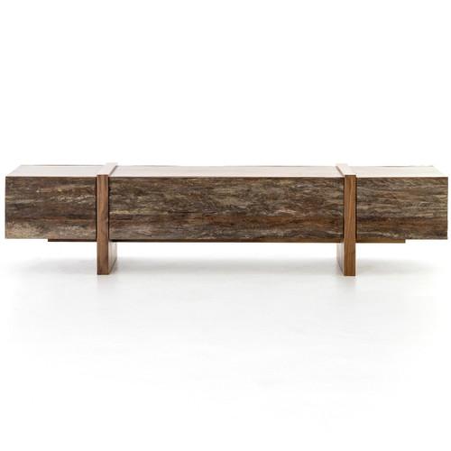 Mila reclaimed peroba wood long storage coffee table 72 for Long coffee table with storage