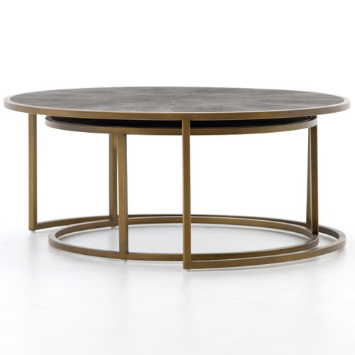 Hollywood Modern Shagreen Nesting Coffee Tables Brass