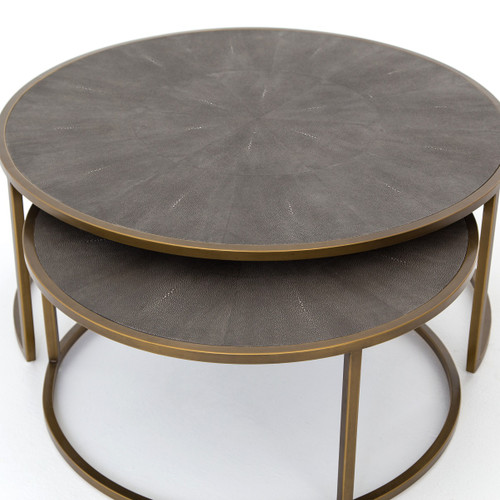 ... SHAGREEN NESTING COFFEE TABLE GREY SHAGREEN/ANTIQUE BRASS, VBEN 018 ...