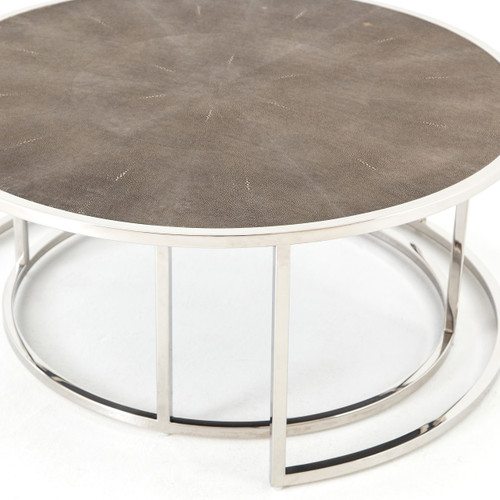 ... Hollywood Shagreen Round Nesting Coffee Tables   Stainless Steel ...