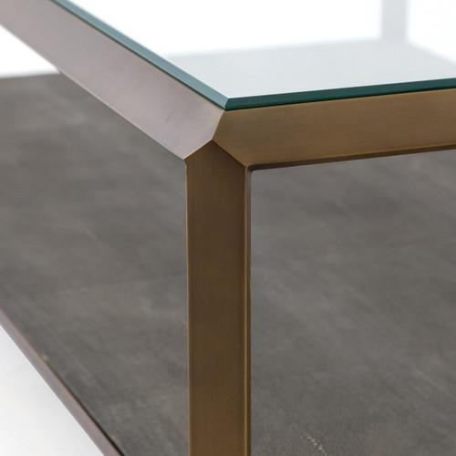 Old Window Coffee Table Shadow Box: Shagreen Shadow Box Glass Top Coffee Tables - Brass