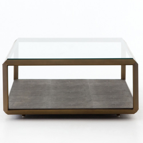 ... Hollywood Shagreen Shadow Box Glass Top Coffee Table   Brass, VBEN 016A  ...