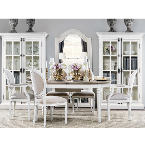 ... Louis Vintage White Oak Round Dining Side Chair  Linen, 8827.2004 ...