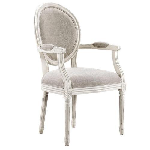 Louis Vintage White Oak Round Dining Arm Chair  Linen,8827.2006