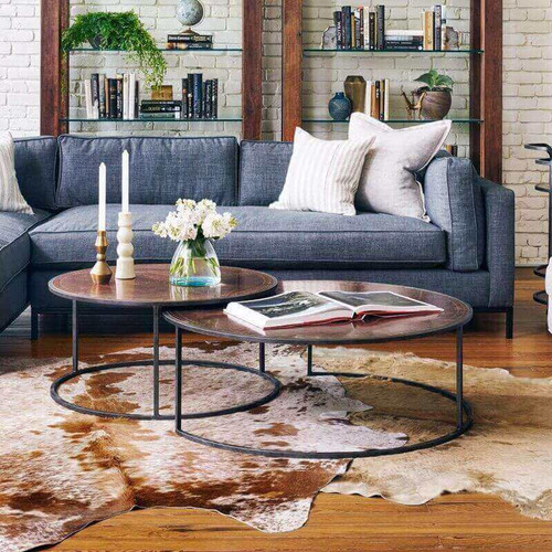 Copper Wooden Coffee Table: Catalina Copper Clad Round Nesting Coffee Tables