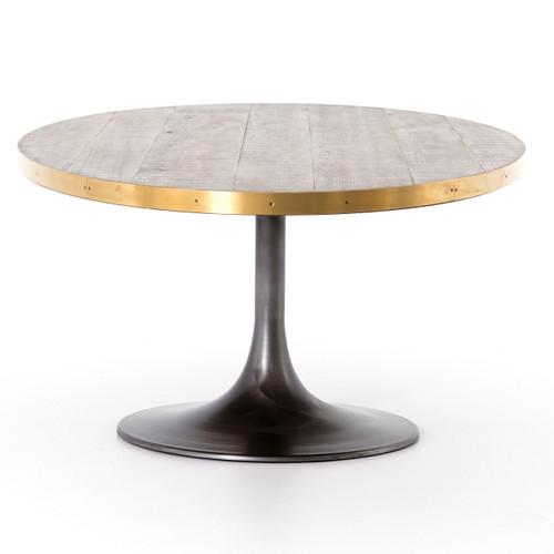Evans Industrial Tulip Oak Wood Top Oval Dining Table Zin Home - Tulip table wood top