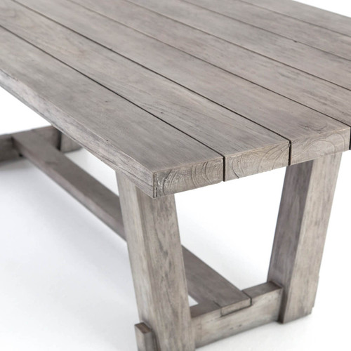 Dustin Weathered Grey Teak Slab Wood Dining Table Zin Home - Weathered teak outdoor dining table