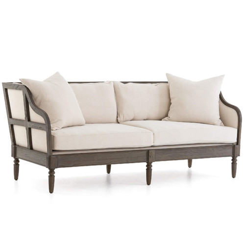Baroness Josephina's Vintage White Linen Upholstered Sofa