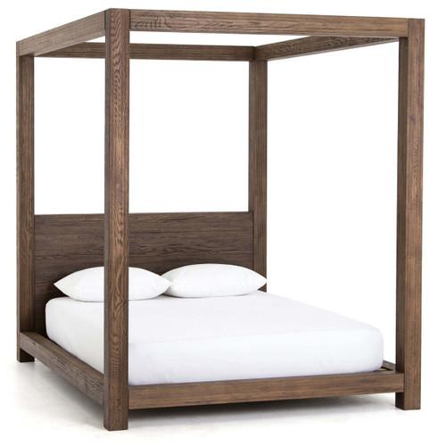 Williams Wood Platform Queen Canopy Bed Frame Grey Zin