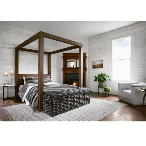 Williams Wood King Platform Canopy Bed Frame - Grey | Zin Home