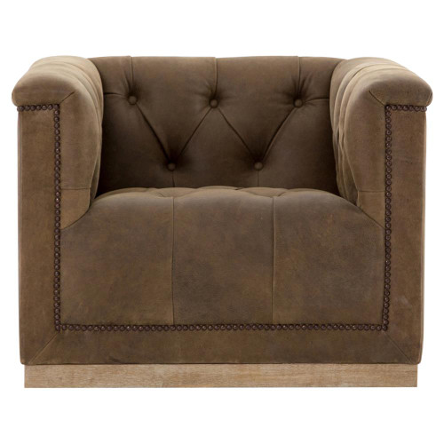 ... Elder Rustic Lodge Tufted Brown Leather Swivel Arm Chair ...