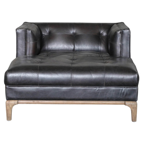 ... Dylan Mid Century Modern Black Leather Chaise Lounge Chair With Arms ...