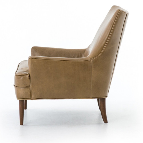 ... Danya Mid Century Modern Taupe Leather Wing Chairs ...