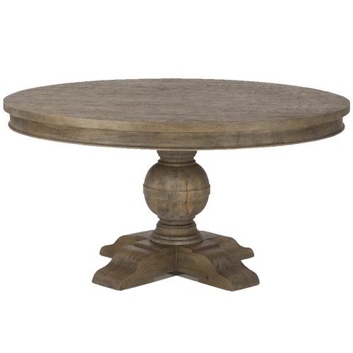 French Urn Solid Wood Pedestal Round Dining Table 54