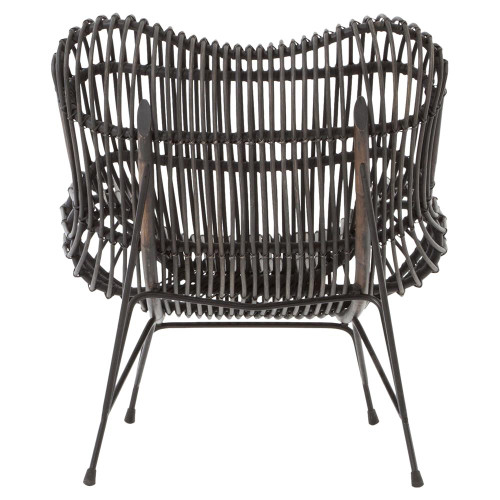 ... Coastal Black Iron And Woven Wicker Accent Chair ...