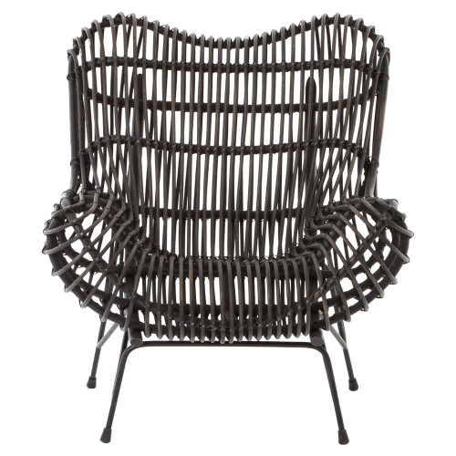 ... Cowan Modern Classic Black Metal Wicker Chair ...