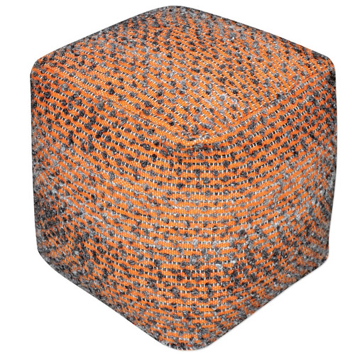 Ashley Burnt Orange Square Pouf Ottoman
