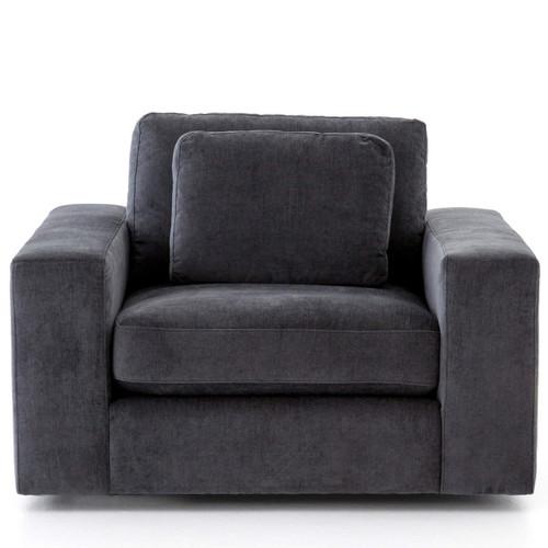 bloor contemporary charcoal grey velvet upholstered swivel chair