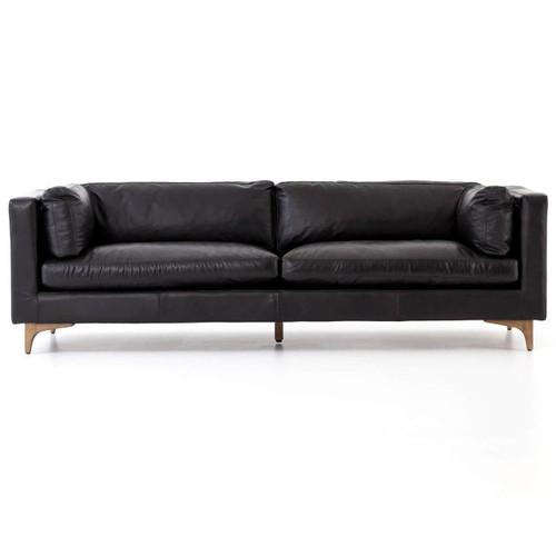 "Black Mid Century Modern Sofas: Beckwith Mid Century Black Leather Cushion Back Sofa 94"""