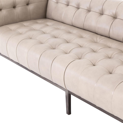 ... Springfield Modern Classic Stone Beige Leather Tufted Low Back Sofa ...