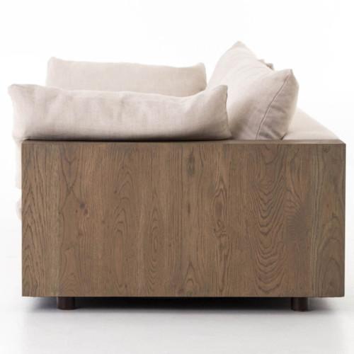 Bernard Beige Cushion Back Exposed Oak Wood Frame Sofa