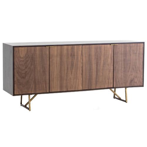 "Kapri Antique Bronze Base Walnut Wood Media Cabinet 72"""