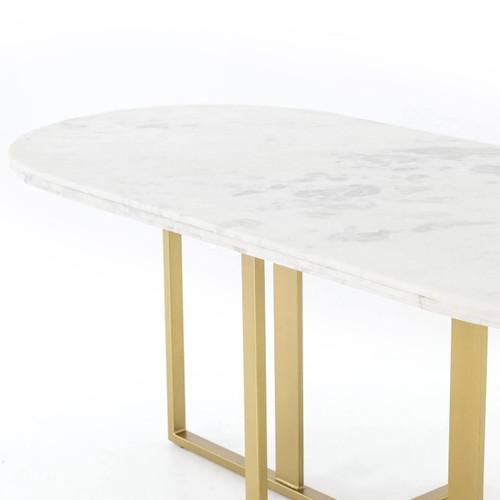 ... DEVAN OVAL DINING TABLE WHITE MARBLE/BRASS PATINA,IRCK 220 ...