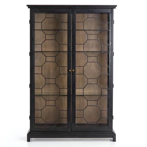 ... Anna Black Iron Frame Glass Display Cabinet ...