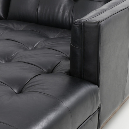 ... Dylan Mid Century Modern Tufted Black Leather Sectional Sofa ...