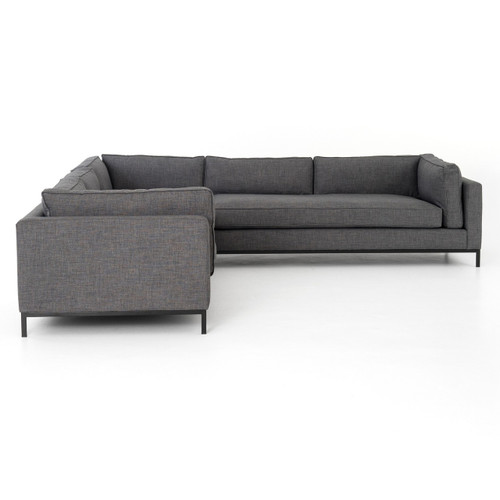 Grant Modern Charcoal Grey Armless Corner Sectional: Grammercy Modern Charcoal Grey 3 Piece Corner Sectional