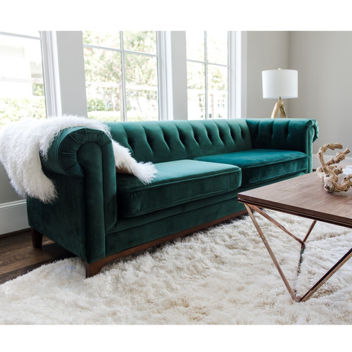 emerson emerald green velvet chesterfield sofa 90 zin home. Black Bedroom Furniture Sets. Home Design Ideas
